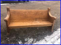 C1870 vintage Quartersawn oak church pew bench Gothic design 70 x 36 x 24 B