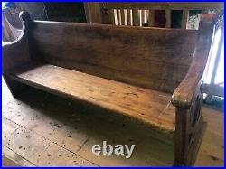 C1870 vintage Quartersawn oak church pew bench Gothic design 82 x 36 x 24