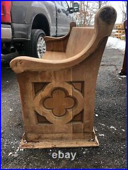 C1870 vintage Quartersawn oak church pew bench Gothic design 83 x 36 x 24