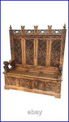 Captivating Antique French Gothic Bench. Heavily Carved, Oak, 1900's