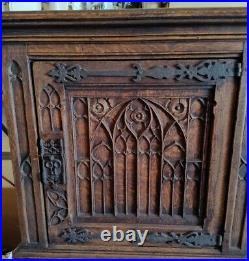 Carved French Gothic Cabinet 19th Century, Oak