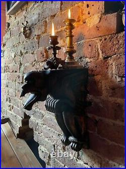 Carved Wood Gothic Wall Bracket Corbel Mythical Beast Gargoyle