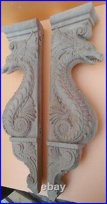 Dragon Corbel/bracket, Large Wooden carved wall decor, Kitchen island. Oak. 20