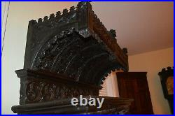 Early Heavily Carved French Oak Court Cupboard