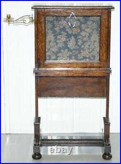 Early Victorian Oak Escritoire Desk Oriental Tapestry Laptop Work Table Campaign