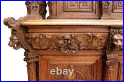 Elaborately Carved French Cabinet, Medieval, 1900's, Oak, Dragon Carvings