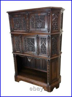 Elaborately Carved French Gothic Cabinet, Medieval, 19th Century, Oak