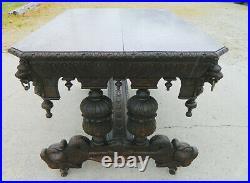 English Oak Library Table Desk Center TableDolphin FeetLoin HeadsGothic