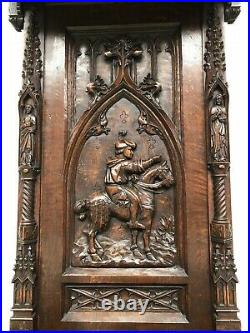 Exquisite French Gothic Throne Chair, Magnificent Carvings, 19th Century, Oak