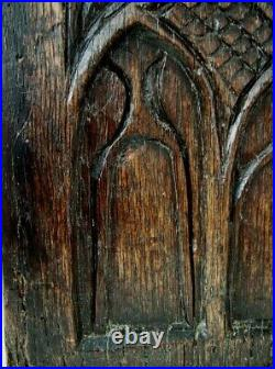 FINE 15/16 th C. CARVED SOLID OAK GOTHIC'WINDOW' PANEL. FRENCH PANEL 2