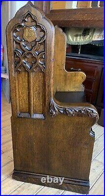 Fantastic Antique 1894 Gothic Church Pew 48 Manhattan NY Carved Oak