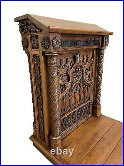 Fantastic Antique French Prayer Kneeler, Gothic, Oak, Religious