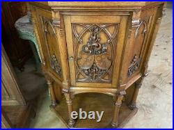 Fantastic French Gothic Corner Cabinet, 19th Century, Medieval, Oak, Rare