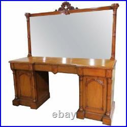 Fine 1870s Era English Carved Walnut Gothic Sideboard Server Buffet w Mirror