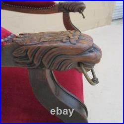 French Antique Carved Armchair Hall Chair with Lion Head Arms