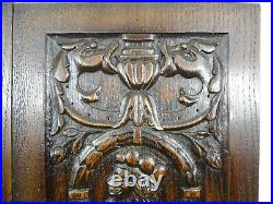 French Antique Gothic Carved Architectural Panel Oak Wood Salvage a Pair 2