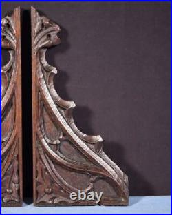 French Antique Gothic Oak Wood Brackets Salvage Trim Hand Carved