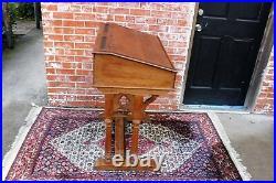 French Antique Gothic Oak Wood Church Kids School Desk for Homeschool Furniture