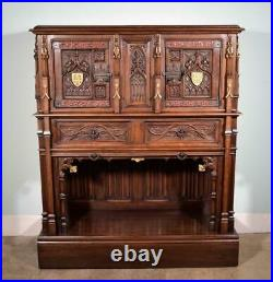 French Antique Gothic Revival Cabinet/Console/Sideboard, Highly Carved Oak