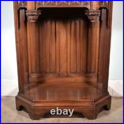 French Antique Gothic Revival Cabinet/Console/Sideboard, Highly Carved Walnut