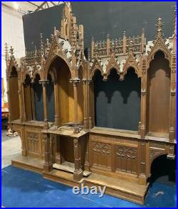 French Antique Gothic Revival Church Altar Possible Bookcase/Bar/Wine Cabinet