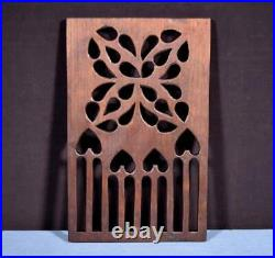 French Antique Gothic Revival Panel in Oak Wood Salvage