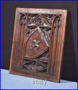 French Antique Gothic Revival Panel in Oak Wood Salvage with Shield