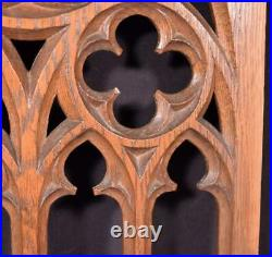 French Antique Gothic Revival Panel in Solid Oak Wood Salvage