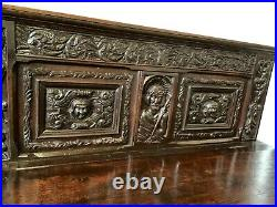 French Gothic Antique Bench with Mary with Christ Carvings, Oak, 19th Century