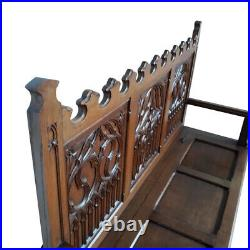 French Gothic Bench, Oak, 1920's, Antique, Medieval Elements, #11562
