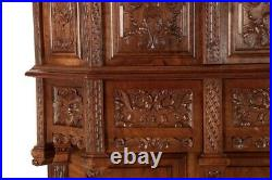 French Gothic Revival Carved Walnut Antique Wine Cupboard Cabinet, circa 1880