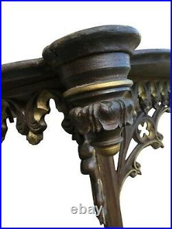 French Gothic Wall Console- Large 49 Wide Antique, Antique 1900-1920's, Oak
