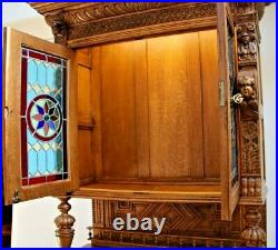 French Victorian Cabinet Tall Sideboard Cabinet Gothic carved stained glass