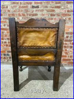 Gothic Carved Oak Jacobean Revival Leather ArmChair C 1800