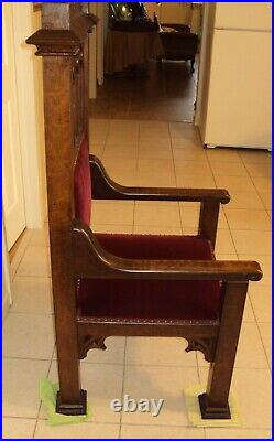 Gothic High Back Chairs (Pair) Oak, Victorian Gothic Revival, ca. 1870's