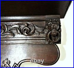 Gothic Lion wall hook rack mantel Antique french wood carving salvaged furniture