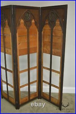 Gothic Renaissance Revival Antique Oak Folding Screen with Bronze Plaques