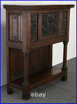 Gothic Revival Carved Oak Cabinet Cupboard Dry Bar, Late 19th to 20th Century