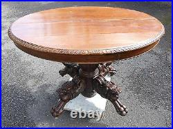 Gothic Solid Oak 45x40x29 Table Lion Heads & Claw Feet Over 200 Years Old