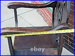 Gothic Victorian Antique Ornate oak wood carved Angel Throne arm chair