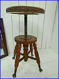 Gothic Victorian Oak Stool with Claw and Glass Ball Feet