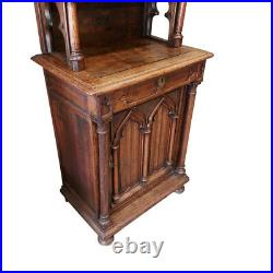 Great Antique French Gothic Cabinet, Narrow, Rustic, Oak, 1920's #11568
