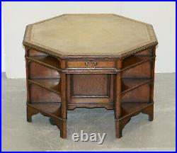 Harrods Antique English Library Two Person Octagonal Partner Desk Inc Bookcases