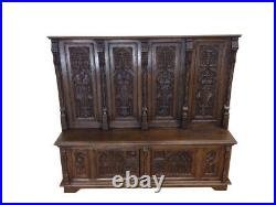 Heavily Carved French Gothic Bench, Oak, 19th Century