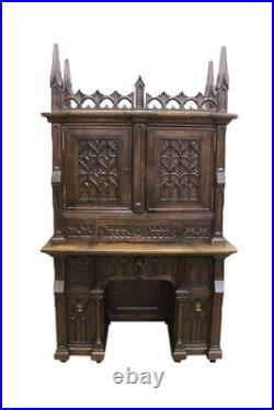 Heavily Carved French Gothic Desk and Chair, Tall Spires, Oak, 19th Century