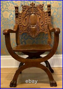 Heavily Carved Griffin & Lions Head Oak Savonarola Chair / Gothic Chair