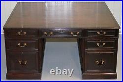 Huge 14 Drawers + 2 Bookshelves Twin Pedestal Double Sided Partner Partner Desk