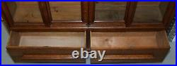 Huge 240cm Tall Solid English Oak Victorian Library Sliding Glass Door Bookcase