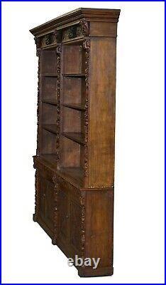 Huge Hand Ornately Carved Antique Victorian Oak Library Bookcase Cupboard Base