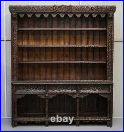 Important Gothic Revival Using 17th Century Panels Bookcase Dresser Cherubs